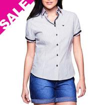 Camisa Feminina Blusa Listrada Preta E Branca Manga Curta