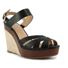 Remate Sandalias Negras Wedge Marca Westies De Nine West 4.5