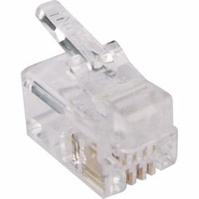Plug Conector Rj-11 4x4 Vias Telefone Monofone 100-peças