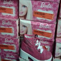 Tenis Botín Con Plataforma Tacón Glitter Brillos Barbie