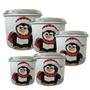 Porta Mantimento 5 Potes Conjunto De Pinguim Pintado À Mão