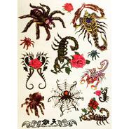 Kit 60 Tatuagens Escorpiões E Aranhas Temporárias Tattoo N15