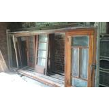 Antiguas Puertas Y Ventana De Cedro Con Vidrio Repartido