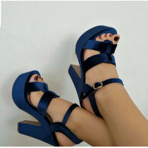 Sandalia Plataforma Tacón De Moda Azul Mujeres Damas