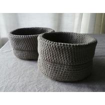 Canasta Tejida Crochet- Organizador Tejido - Panera Algodón