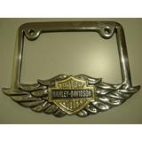 Portaplaca Metalico Motocicleta Harley Davidson Alas