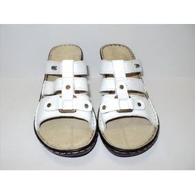 Sandalias Tipo Zueco En Cuero Blanco