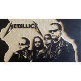 Metallica- Cuadro De Madera Tallado
