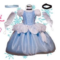 Vestido Princesa Disfraz Cenicienta Tela De Lujo Envio Grati