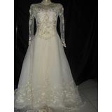 Vestido De Noiva Com Véu E Grinalda Antigo - Tam 40