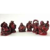 Set 6 Budas La Felicidad Feng Shui Color Madera . Aprox. 3cm