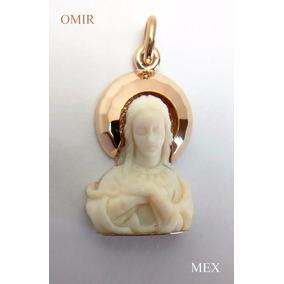 Dije Virgen Oro 18k Virgen Antiguo Talla A Mano Fino