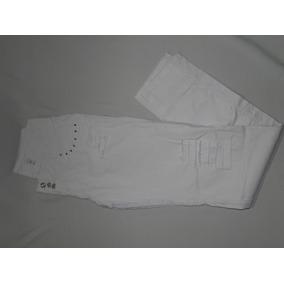 Calça Sarja Branca 3 Botoes Com Rasgos Tam 38