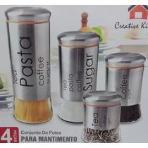 Conjunto De Potes P/ Mantimento C/ 4 Peças Tampa Aço Inox