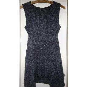 Vestido De Lana Bicolor Con Cinto A La Cintura