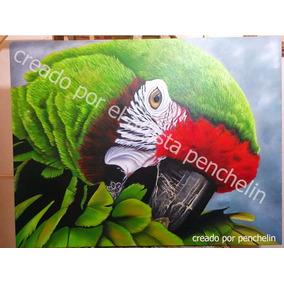 Guacamayo Verde Pintura Al Oleo