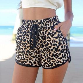 Shorts Moda Praia Feminino Estampado Oncinha Fitness