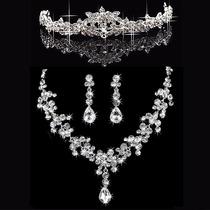 Coroa Tiara Noiva Debutantes Casamento + Colar + Brincos