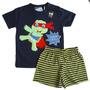 Pijama Tartaruga Menino Conjunto Camiseta Short Brilhaescuro
