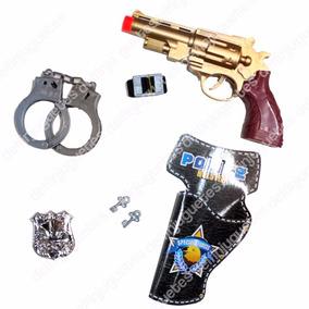 Set Policía Pistola + Esposas + Placa Para Disfraz Disfraces