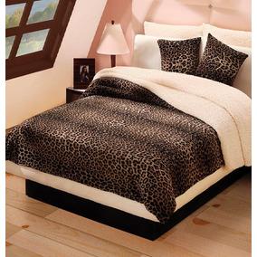 Cobertor Leopardo Matrimonial + Juego De Sabana Envio Gratis