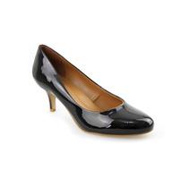 Sapato Feminino Scarpin 100% Couro Lux/verniz Salto Forrado