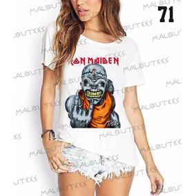 Camiseta T-shirts Feminina Fashion Iron Maiden Rock Roll