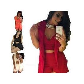 Conjunto Feminino 3 Peças, Short, Blazer E Cropped