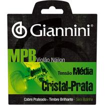 Cordas Violão Nylon Giannini Mpb Cristal Prata Média