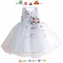 Vestido Blanco Bautizo Cumpleaños Graduación Ceremonia Paje