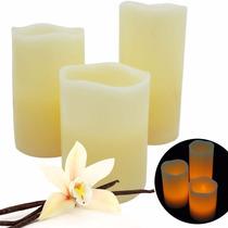 3 Velas Led Aroma Vainilla Cera Decorativas Control Remoto
