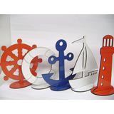 5 Pçs Marinheiro Color 20cm Mdf Mar,barco,ancora,farol,