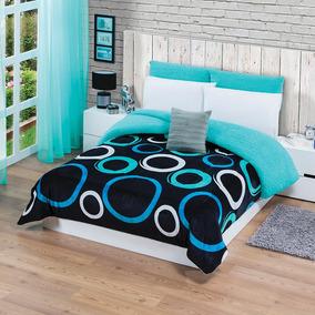 Cobertor Borrega Galaxy Dos Vistas Azul Rey King Size