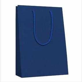 20 Sacolas De Papel Kraft - Cor Azul - 18x25x10