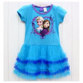 Vestido Azul Irmãs Frozen Saia De Tutu