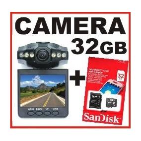 Câmera Veicular Filmadora Visor Dvr + Cartão 32gb Sandisk