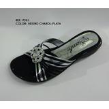 Sandalia Fina Zapato Mujer Calzado Negro -plata Envío Gratis