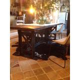 mesa industrial hierro madera pinotea detalle patas original