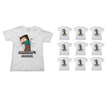 Kit Allsgeek Festa De Aniversário C/ 10 Camisetas Herobrine