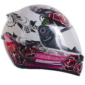 Capacete Moto Ebf Feminino Eox Rosas Tamanho 56 Cor Branco