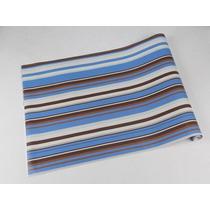 Papel De Parede Listrado Em Tons Marrom, Azul, Branco E Bege