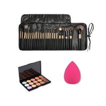 Set Maquillaje Profesional 24 Brochas Pinceles + Correctores