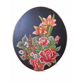 Cuadro Cuadrito Ovalado Canasta Flores Grande Pintado Mano