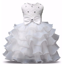 Vestido Infantil Festa Daminha Batizado Branco Renda Criança