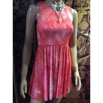 Vestido Color Rosa Estampado Batik De Lycra Corte Princesa