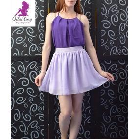 Conjunto Tipo Vestido De Gasa Remera + Pollera Qilaixing