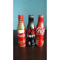 3 Garrafas Coca Cola 250 Ml Lacrada De Alumínio