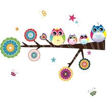 Adesivo Decorativo Quarto Infantil Colorido Galho + Coruja