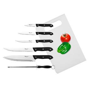 Set 7 Cuchillos Acero Inox Con Tabla P/ Picar Good And Good