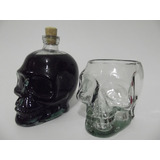 1 Garrafa De Caveira (crânio) 750 Ml + 02 Copos 600ml Skull